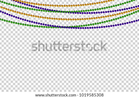 Vector realistic isolated beads for Mardi Gras for decoration and covering on the transparent background. Concept of Happy Mardi Gras.
