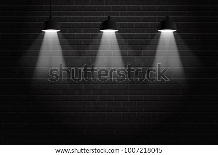 Vector Realistic Isolated Black Brick Wall Background With Ceiling Lamps For Decoration And Covering Concept