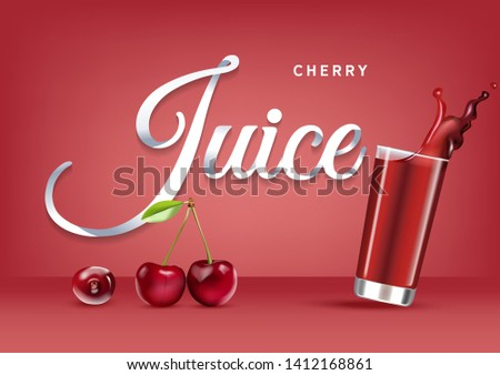 Vector realistic isolated illustration of cherry and cherry juice in glass. Ad poster with 3d effect of fresh beverage with splash. Healthy organic cherry berry and cherry juice on red background.