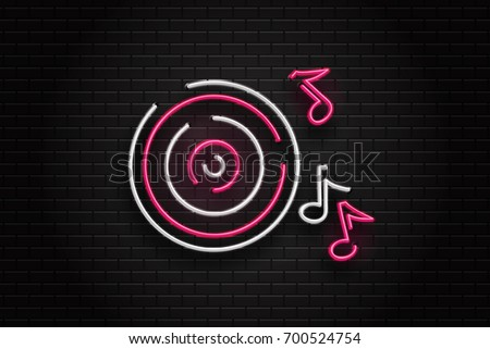 Vector realistic isolated neon retro sign of vinyl and notes for decoration and covering on the wall background. Concept of music, dj and disco.