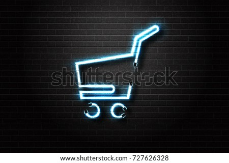 Vector realistic isolated neon sign for e-commerce icon for decoration and covering on the wall background. Concept of online purchase and market.