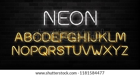 Vector realistic isolated neon sign of alphabet font letters for decoration and covering on the wall background.