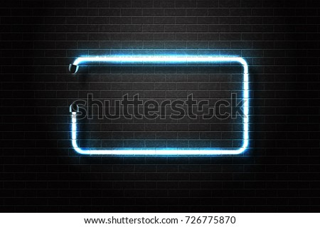 Shutterstock Vector realistic isolated neon sign of blue frame for decoration and covering on the wall background.