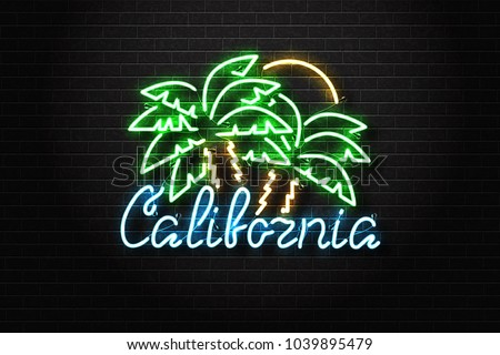 Vector realistic isolated neon sign of California logo with palm and sun for decoration and covering on the wall background. Concept of beach, surfing and summer.