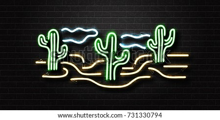 Vector realistic isolated neon sign of desert and cactus for decoration and covering on the wall background.