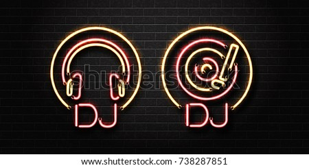 Vector realistic isolated neon sign of dj logo with headset and vinyl for decoration and covering on the wall background. Concept of music, dj and live concert.