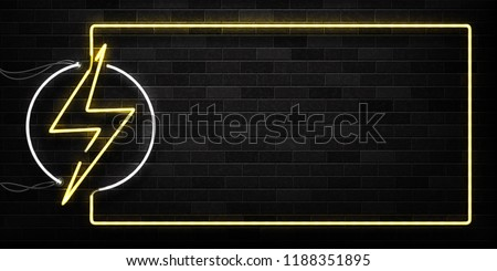 Vector realistic isolated neon sign of Electricity frame logo for decoration and covering on the wall background. Concept of lightning and energy.