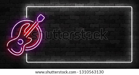 Vector realistic isolated neon sign of Guitar frame logo for template decoration and covering on the wall background.
