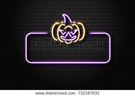 Vector realistic isolated neon sign of Halloween frame with evil pumpkin for decoration and covering on the wall background.