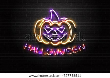 Vector realistic isolated neon sign of Halloween lettering and evil pumpkin for decoration and covering on the wall background. Concept of Happy Halloween.