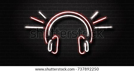 Vector realistic isolated neon sign of headset for decoration and covering on the wall background. Concept of music, dj and live concert.