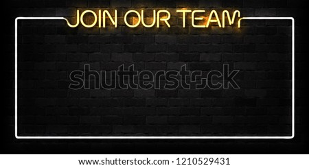 Vector realistic isolated neon sign of Join Our Team logo for decoration and covering on the wall background. Concept of we are hiring and cv.