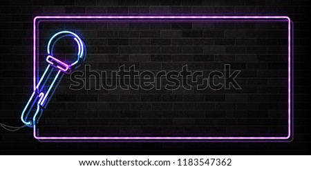 Vector realistic isolated neon sign of microphone frame logo for decoration and covering on the wall background. Concept of night club, live music and karaoke bar.
