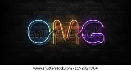 Vector realistic isolated neon sign of OMG logo for decoration and covering on the wall background.
