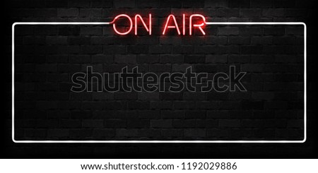 Vector realistic isolated neon sign of On Air frame logo for decoration and covering on the wall background. Concept of radio, broadcasting and dj.