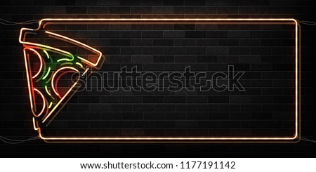Vector realistic isolated neon sign of pizza frame logo for decoration and covering on the wall background. Concept of restaurant sign. Banner for cafe menu for advertising and promotion.
