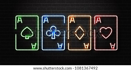 Vector realistic isolated neon sign of playing aces cards for decoration and covering on the wall background. Concept of poker, casino and gambling.