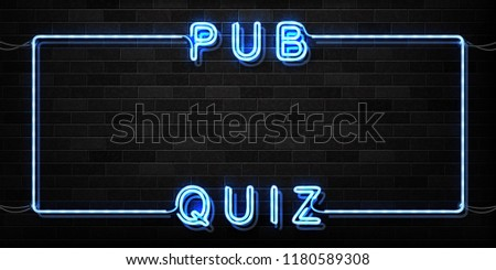 Vector realistic isolated neon sign of Pub Quiz frame logo for decoration and covering on the wall background.