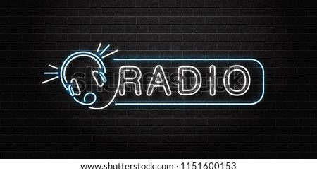 Vector realistic isolated neon sign of Radio logo with headset for decoration and covering on the wall background. Concept of on air, broadcasting and dj.
