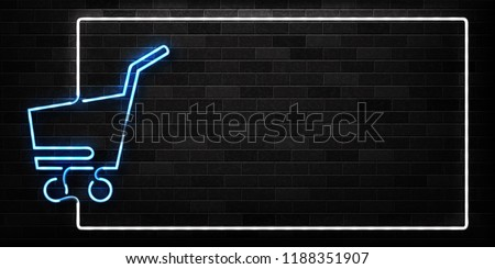 Vector realistic isolated neon sign of supermarket trolley frame logo for decoration and covering on the wall background. Concept of Black friday, sale and online shopping.