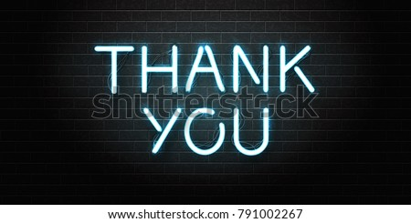 Vector realistic isolated neon sign of Thank You lettering for decoration and covering on the wall background.