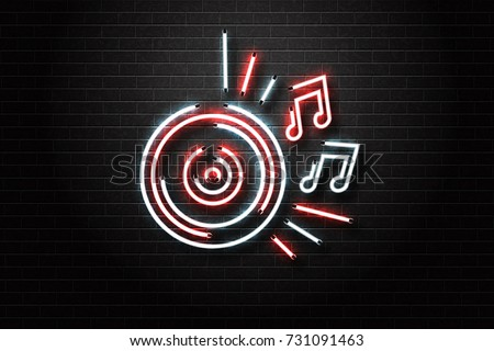 Vector realistic isolated neon sign of vinyl for decoration and covering on the wall background. Concept of night club, music and dj profession.