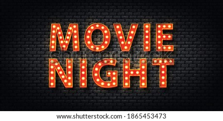 Vector realistic isolated retro marquee billboard with electric light lamps of Movie Night logo for template decoration and covering on the wall background. Concept of show and director.