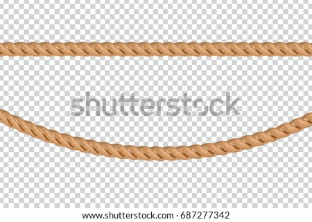 Vector realistic isolated rope knots for decoration and covering on the transparent background.