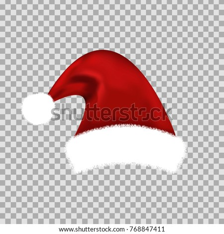 Vector realistic isolated Santa Claus hat for decoration and covering on the transparent background. Concept of Merry Christmas and Happy New Year.