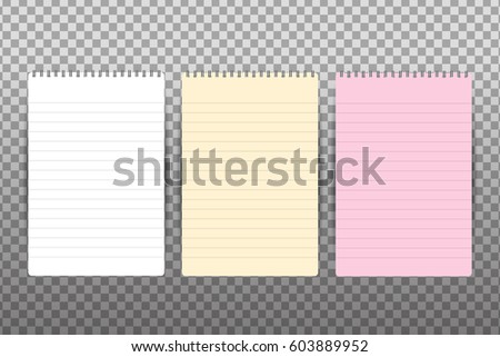 Vector realistic isolated spiral notepad on the transparent background.