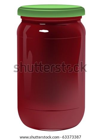 vector realistic jar with marmalade on white background