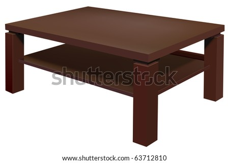 vector realistic living room table on white background