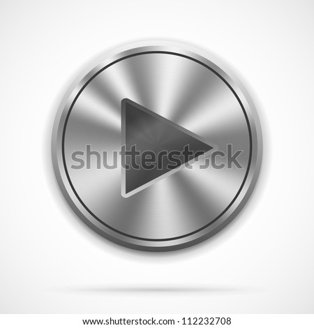 Vector realistic metallic Play Button with highlights on white
