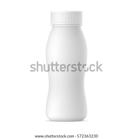 Vector realistic mock up bottle of yogurt. Milk plastic bottle on white background