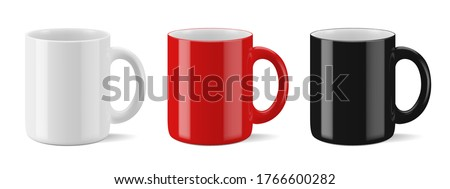 Vector realistic mockup (template, layout) of a mug for drinks perspective view. White, black, red blank isolated cup. EPS 10