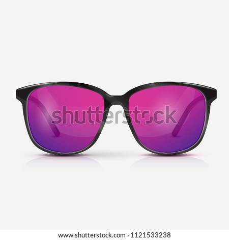 Vector realistic modern eyeglasses with ultraviolet gradient lens. Summer vacation holiday beach pool party. celebration