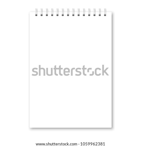 Vector realistic opened notebook cover. Vertical white metallic white spiral bound blank notebook, copybook, brochure, menu. Template (mock up) of organizer or diary isolated.