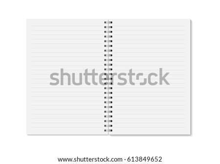 Vector realistic opened notebook. Vertical blank copybook with metallic silver spiral. Template (mock up) of organizer or diary isolated. Horizontal lined notebook.