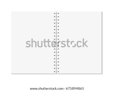 Vector realistic opened notebook. Vertical blank copybook with metallic silver spiral. Template (mock up) of organizer or diary isolated. The view from the top.