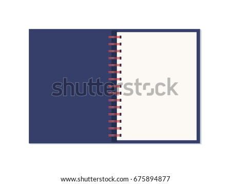 vector realistic opened notebook vertical blank copybook with