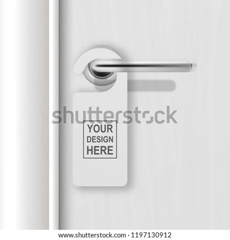 Vector realistic paper white blank door hanger on white realistic wooden door with metal silver handle background. Door hanger mockup. Design template for graphics. Full length door is in a clipping
