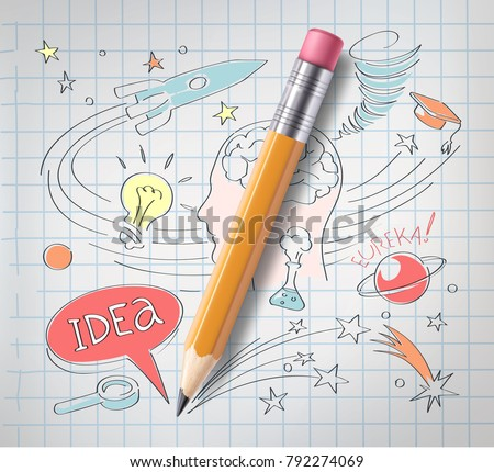 Vector realistic pencil on paper with colored sketch creative education, science hand drawn doodles symbols. Concept of idea, eureca, study, research and development. Notebook background illustration