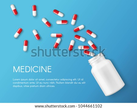 Vector realistic pills and capsules banner. Medicines, tablets, capsules, drug of painkillers, antibiotics, vitamins and small bottle. Health care medical and vector illustration.