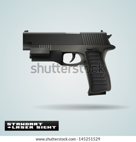 vector realistic pistol with