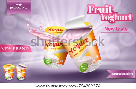 Vector realistic poster for advertising yogurt. Natural milk or creamy product in large package with open lid and splash isolated on a light purple background, 3D illustration