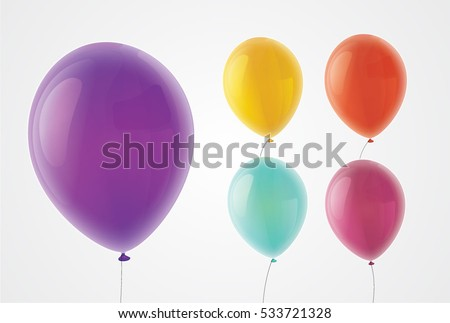 Vector realistic purple, yellow, red, blue and violet baloons