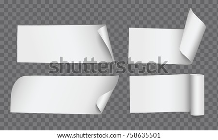 Vector realistic rectangle paper notes with curled corners and rolled edges isolated on transparent background