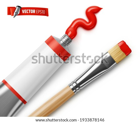 Vector realistic red paint tube and paintbrush on white background Photo stock ©