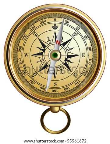 Vector realistic represented compass - stock vector