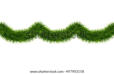 vector realistic seamless tinsel isolated on white background green christmas decoration garland for holiday - Green Christmas Garland